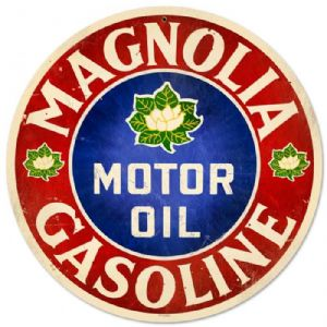Magnolia Motor Oil round metal sign  (pst 14rnd)